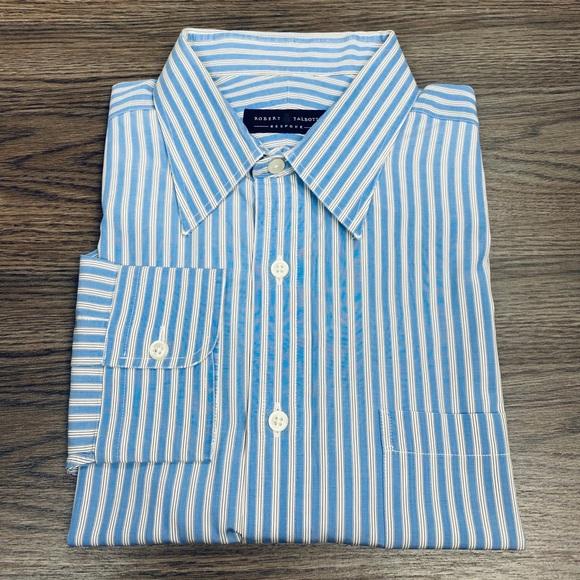 Robert Talbott Blue, White & Brown Stripe Shirt 17